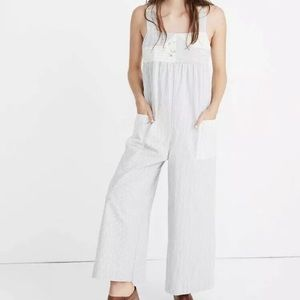 Madewell Patchwork Stripe Denim Relaxed Jumpsuit